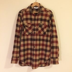 perfect burgundy/brown/tan woolrich flannel shirt